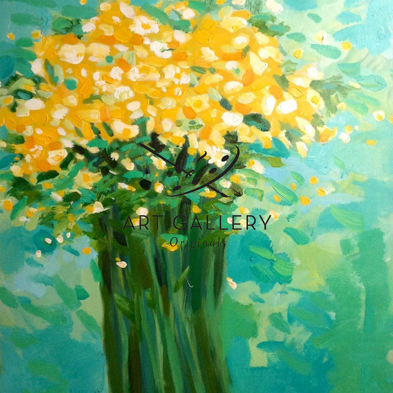 24x30 yellow blooms on teal background