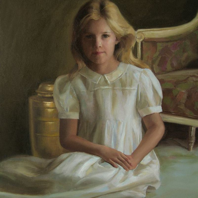 Children's Oil Portrait A QUIET MOMENT