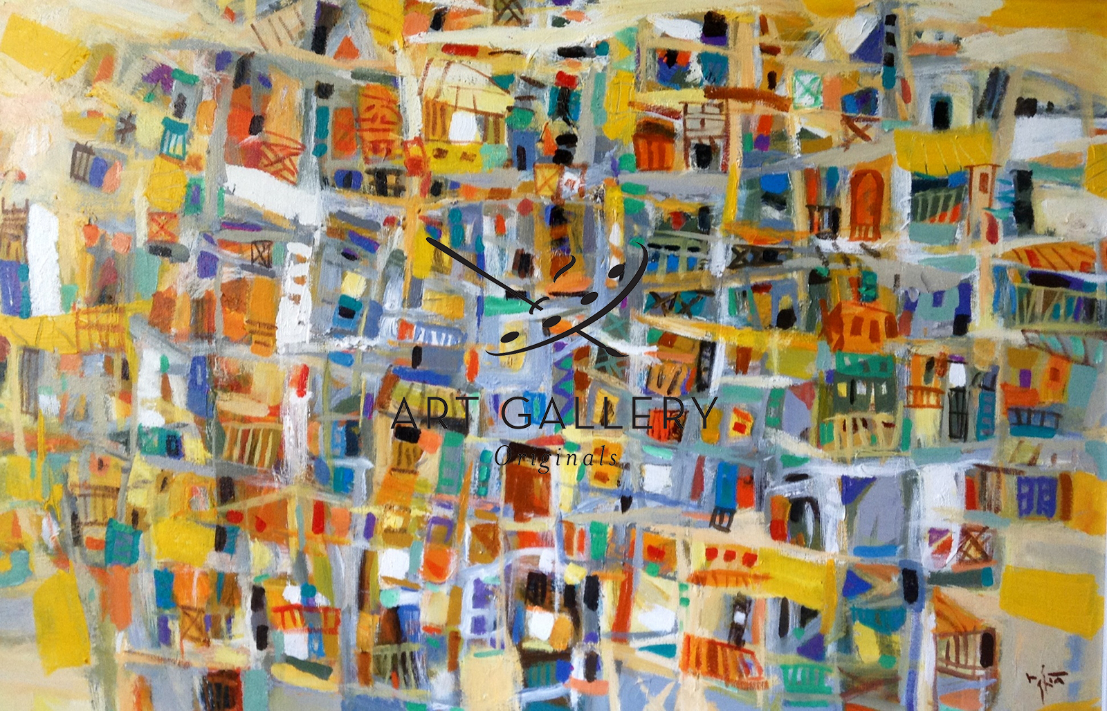 abstract town 32x48